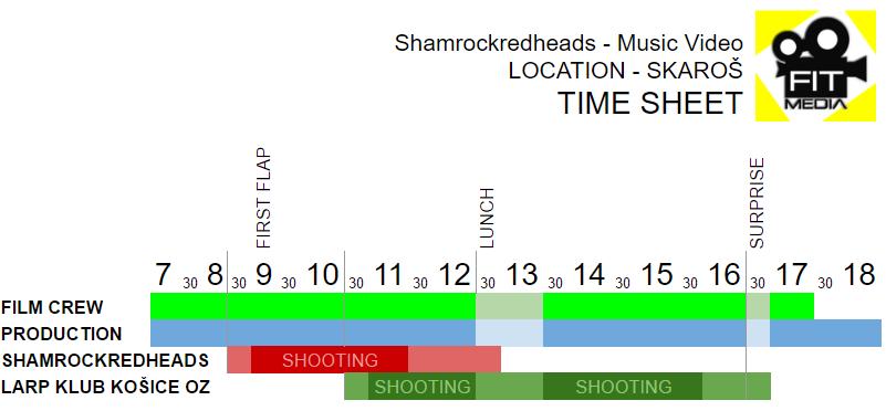 Timesheet Music video Shooting day